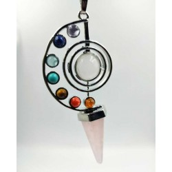Pendule vortex 7 pierres + pointe Quartz Rose